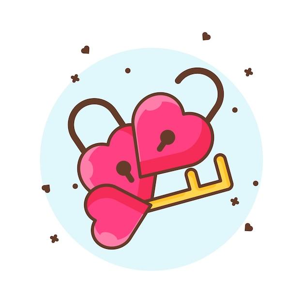 Valentine hangslot en sleutel pictogram illustraties. valentine pictogram concept wit geïsoleerd. Premium Vector