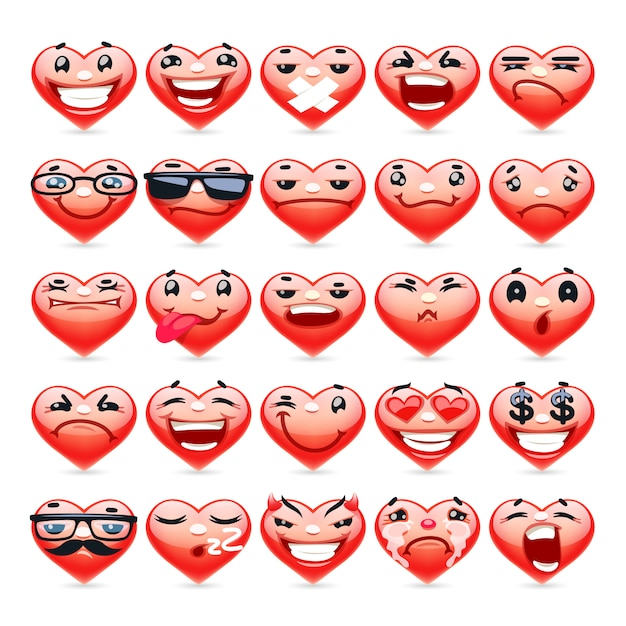 Valentine heart emoticons-collectie Premium Vector