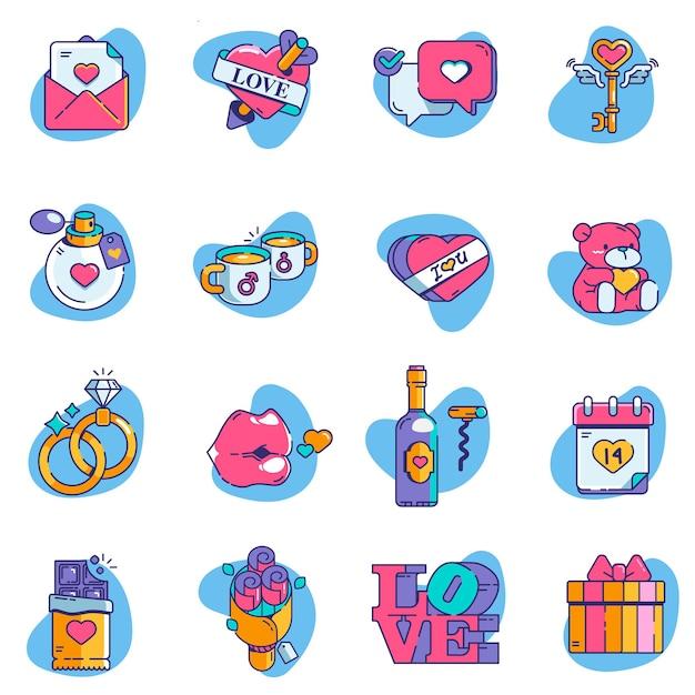 Valentine icon set elements Premium Vector