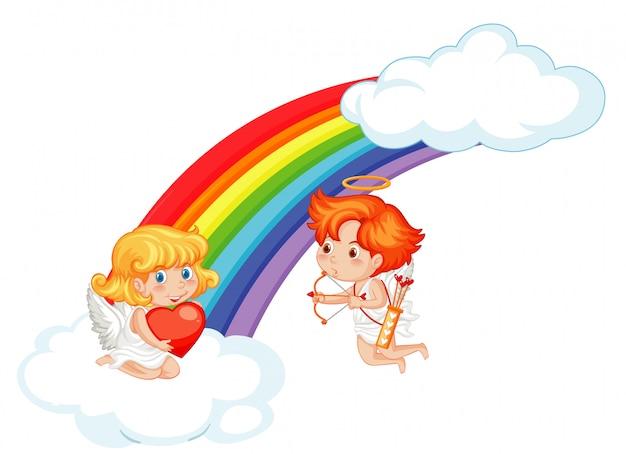 Valentine-illustratie met cupido's die in de hemel vliegen Gratis Vector