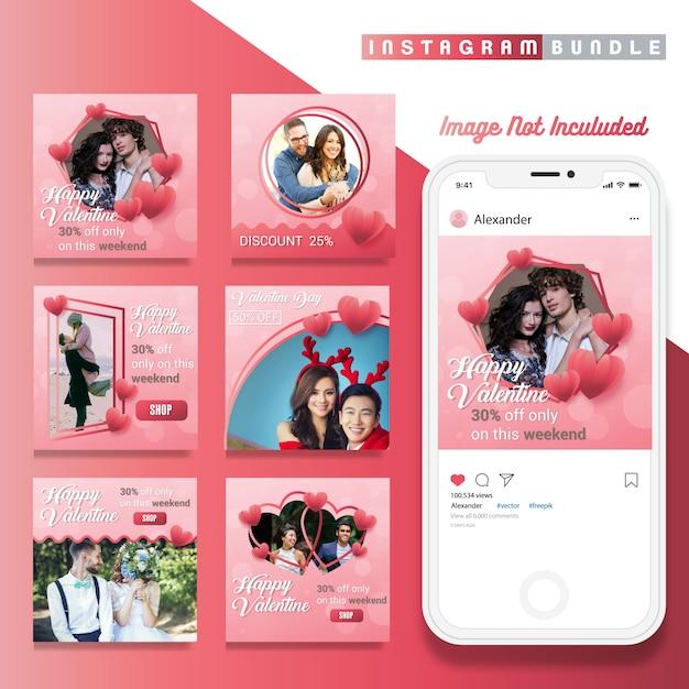 Valentine korting instagram berichtsjabloon Premium Vector