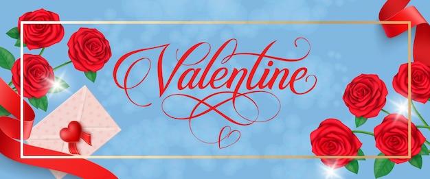 Valentine lettering in frame met rozen Premium Vector