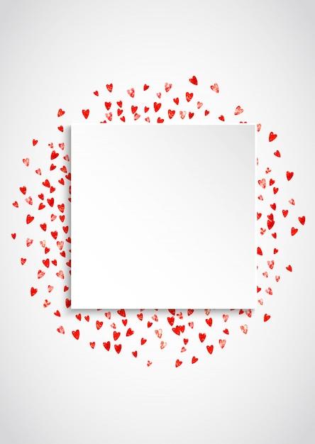 Valentine papier frame met roze glitter harten. 14 februari dag. vector confetti voor valentijn papier frame. witte feestelijke banner met textuur. Premium Vector