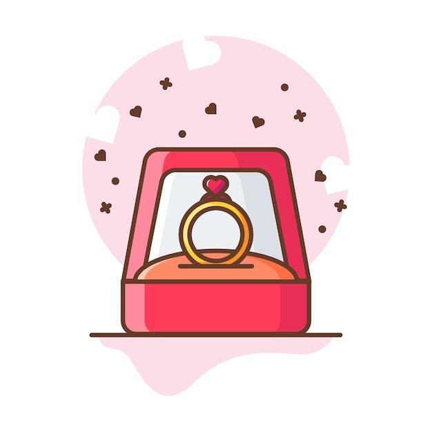 Valentine ring love icon illustraties. Premium Vector