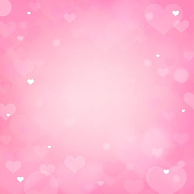 Valentine-roze hart bokeh achtergrond Premium Vector