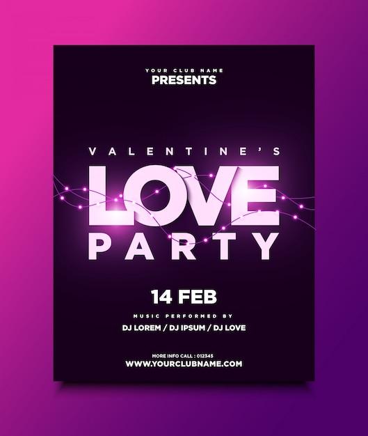 Valentine's party poster of flyer-sjabloon met gloeiende lampen Premium Vector