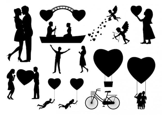 Valentine silhouet element set Premium Vector