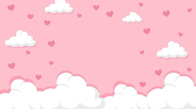 Valentine-thema met harten in roze hemel Gratis Vector