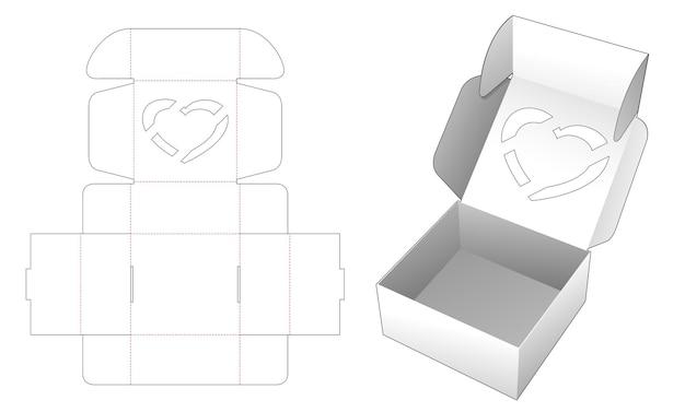 Valentine vouwdoos met gestanste sjabloon met hartvenster bovenaan Premium Vector