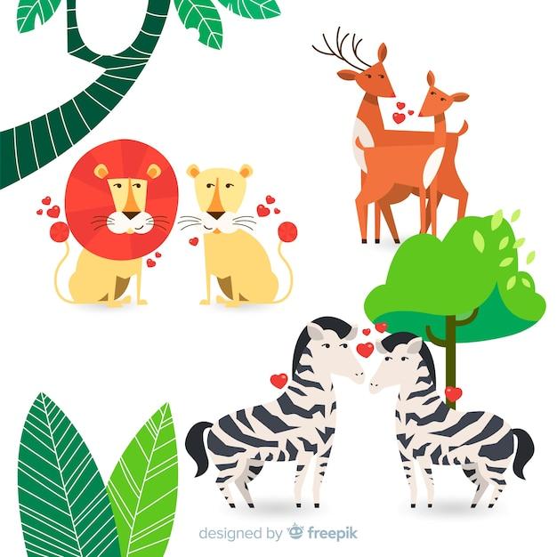 Valentine wilde dieren paar collectie Gratis Vector