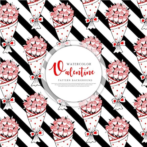 Valentine zwarte streep patroon achtergrond Premium Vector