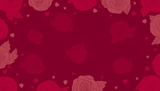Valentines achtergrond met rozen Premium Vector