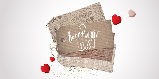 Valentines banner Premium Vector