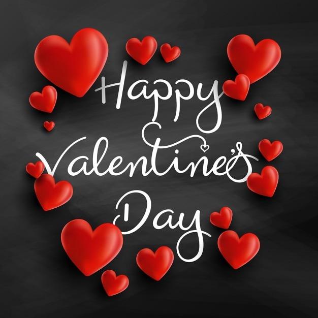 Valentines day achtergrond met 3d-harten en decoratieve tekst Gratis Vector