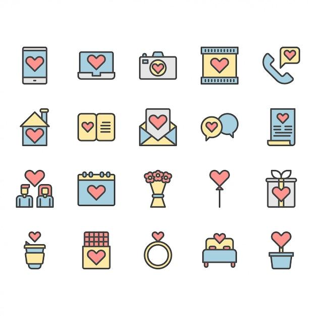 Valentines en liefde pictogram en symbool set Premium Vector
