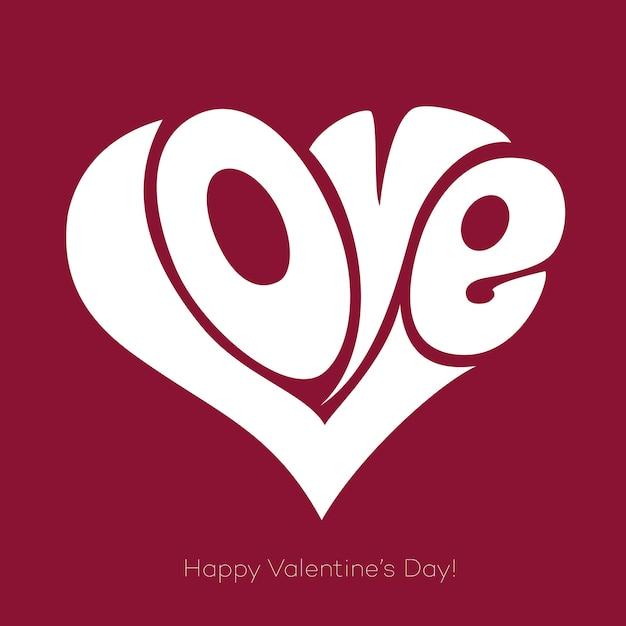 Valentines kaart met liefde belettering. fijne valentijnsdag Premium Vector