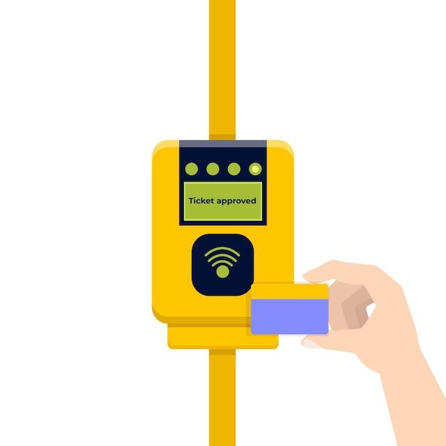 Validatie van kaarttickets, contactloze betalingen Premium Vector