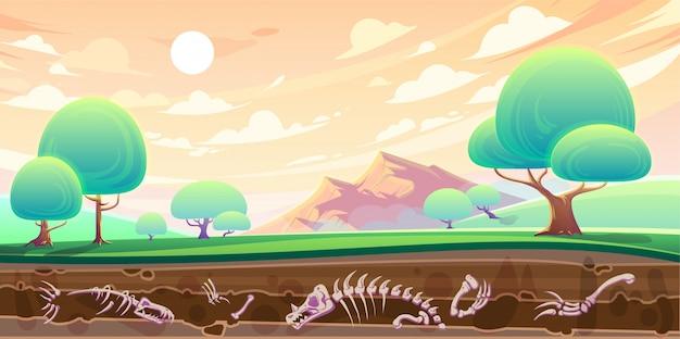 Vallei en dwarsdoorsnede van bodem met fossielen Gratis Vector