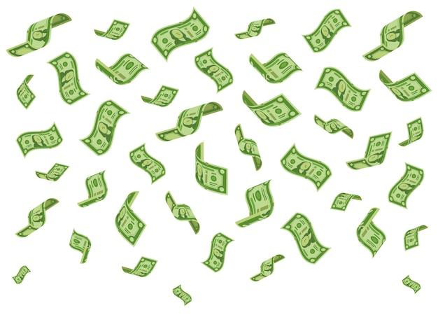Vallende bankbiljetten Premium Vector