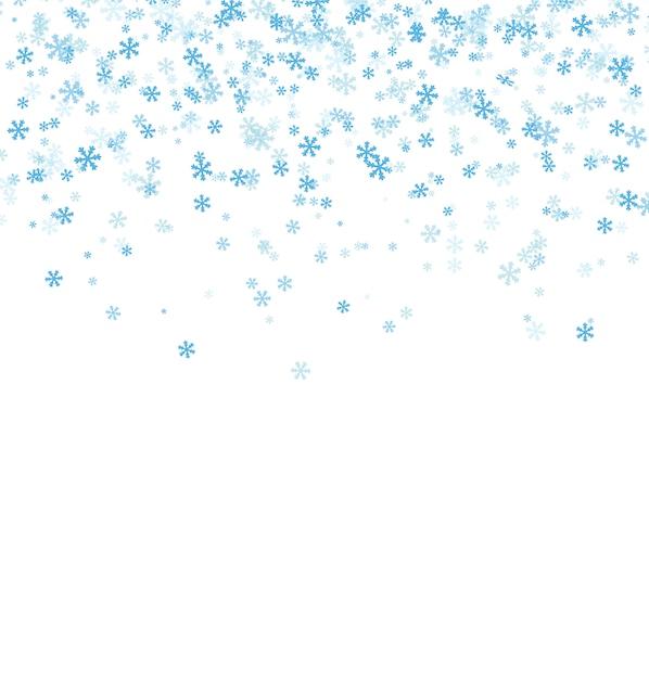 Vallende blauwe sneeuwvlokken op witte achtergrond Premium Vector