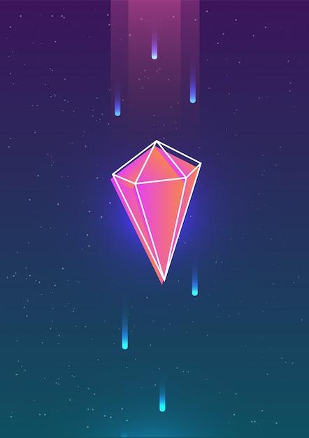 Vallende edelsteen of geometrische figuur en zijn omtrek tegen mooie hemel met sterren Premium Vector