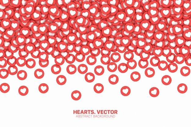 Vallende harten sociale media pictogrammen conceptuele abstracte achtergrond Premium Vector