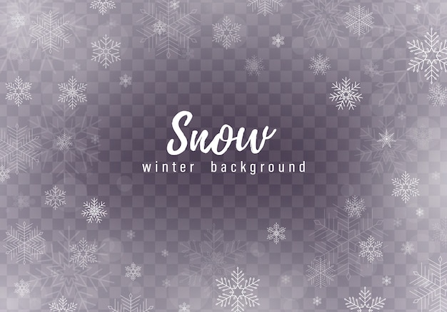 Vallende kerst sneeuw achtergrond, sneeuwvlokken, zware sneeuwval. Premium Vector
