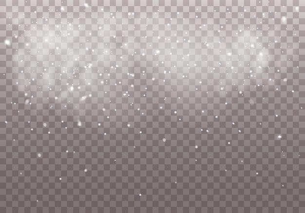 Vallende kerstmissneeuw. realistische vallende sneeuwvlokken Premium Vector