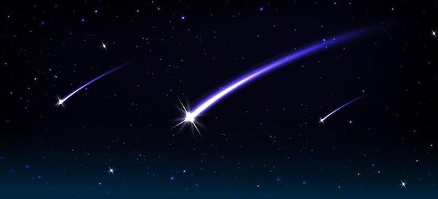 Vallende kometen, asteroïden en meteoren met blauwe vlamspoor in kosmos Gratis Vector