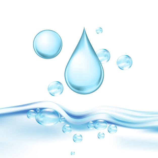 Vallende mineraalwaterdruppel en luchtbellen Premium Vector
