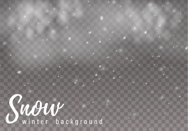 Vallende sneeuw. realistische vallende sneeuwvlokken Premium Vector
