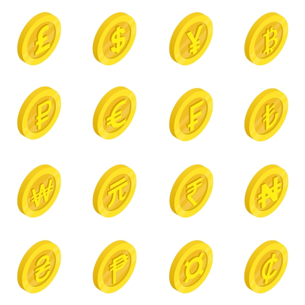 Valutapictogrammen se Premium Vector