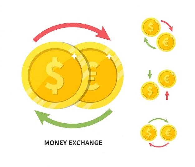 Valutawissel dollar euro, platte vectorillustratie Premium Vector
