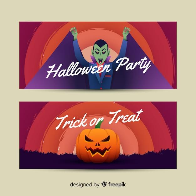 Vampier en pompoen halloween banners Gratis Vector