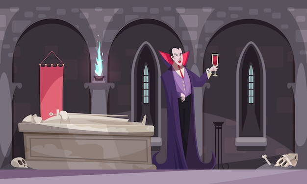 Vampier in paarse mantel bloed drinken uit wijnglas in grafkelder met platte grafskeletten Gratis Vector