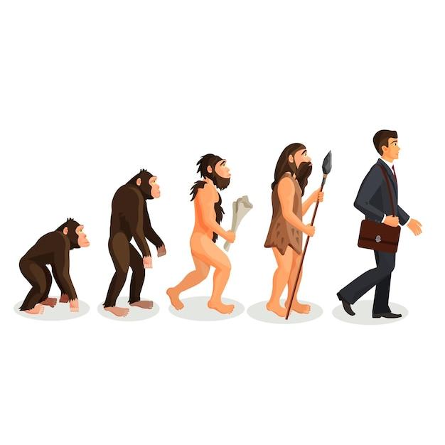 Van aap tot mens staand proces geïsoleerd. hominide primaten. homo habilis. homo erectus. homo neanderthalensis. homo sapien. illustratie van de menselijke evolutie van de oudheid tot nu. Premium Vector