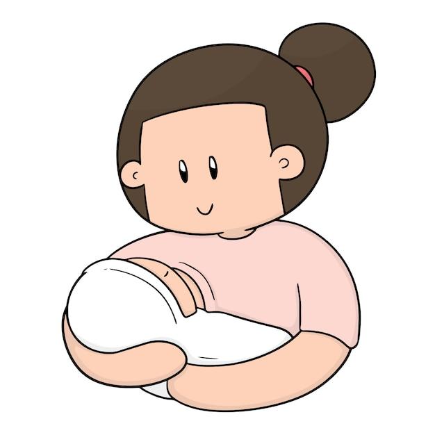 Van borstvoeding moeder en baby Premium Vector