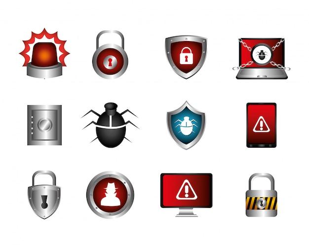 Van cyberbeveiliging en pictogrammen Gratis Vector