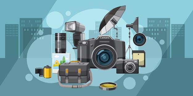 Van de achtergrond fotostudio horizontale stad, beeldverhaalstijl Premium Vector
