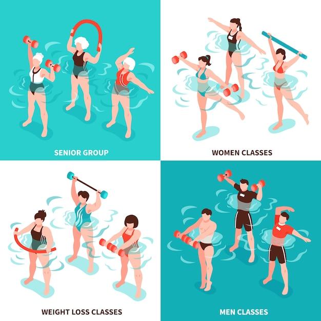 Van de aerobicsmannen en vrouwen van aqua klassen hogere groep voor personen die reeks van de gewichts de isometrische illustratie verliezen Gratis Vector