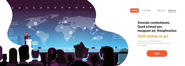 Van de bedrijfs conferentie arabische zakenman politicus sprekende banner Premium Vector