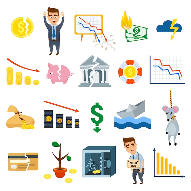 Van de bedrijfstekenfinanciën van bedrijfssymbolen vlakke de illustratiesymbolen van de financiën Premium Vector