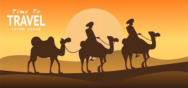Van de de reisvakantie van egypte het behang, banner, achtergrond Premium Vector