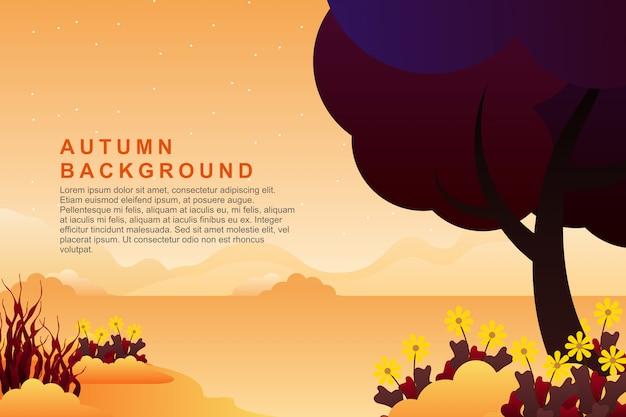 Van de de zomeravond van het landschap de berg en hemel achtergrondillustratie Premium Vector