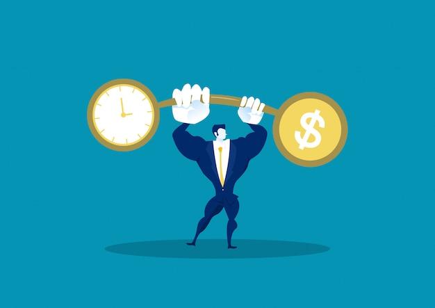 Van de gewichtensaldo van de zakenmanholding de financiën van de de vergelijkingsdollar met tijd Premium Vector