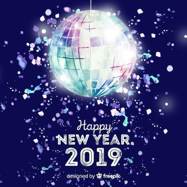 Van de het bal nieuwe jaar van de disco de partijachtergrond Gratis Vector
