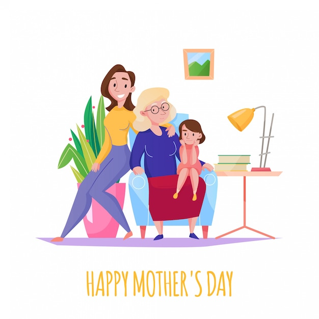 Van de het huisfamilie van de moedersdag de vlakke samenstelling met de grootmoedermoeder van 3 generatiesvrouwen weinig dochterillustratie Gratis Vector