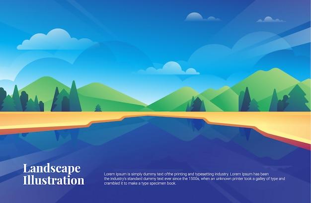 Van de het meerbomen van de landschapsberg de illustratieprentbriefkaar Premium Vector