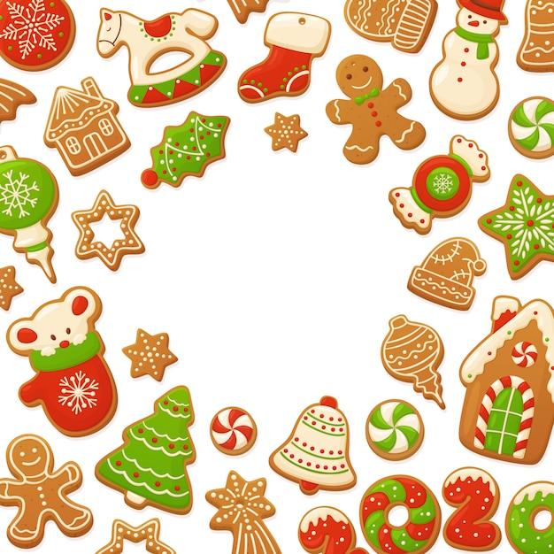 Van de peperkoekkoekjes van het beeldverhaal kerstmisachtergrond Premium Vector