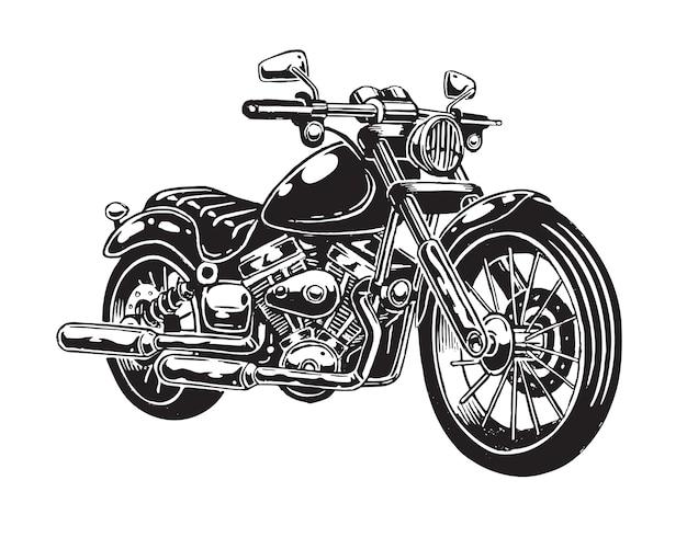 Van hand getrokken motorfiets geïsoleerd op een witte achtergrond. monochrome stijl. Gratis Vector